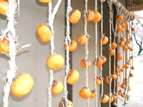 干し柿干されてます。
