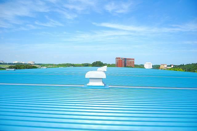貨物倉庫の屋根塗装。